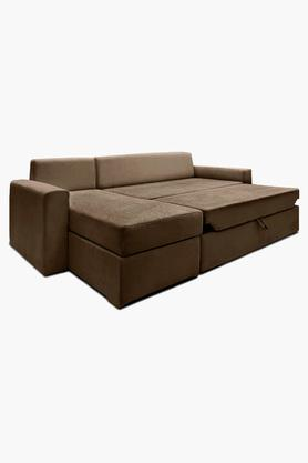 Wheat Brown Fabric Sectional Sofa Bed (Lounger)