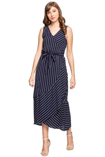 Womens V Neck Striped Wrap Dress