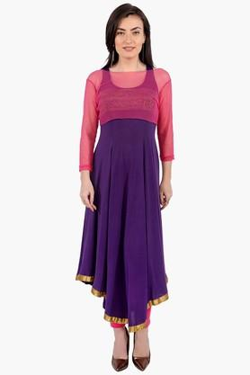 Womens Boat Neck Colour Block Asymmetrical Kurta