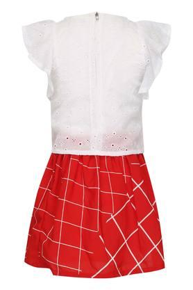 Girls Round Neck Solid Eyelet Top and Skirt Set