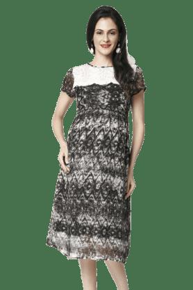 NINE MATERNITYAbstract Print Multi Coloured Nursing Dress