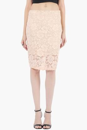 FABALLEY Womens Lace Knee Length Skirt