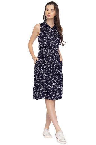 Womens Floral Print Midi Dress