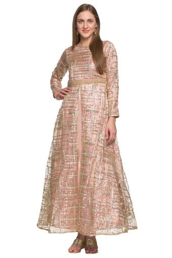Womens Round Neck Embellished Gown