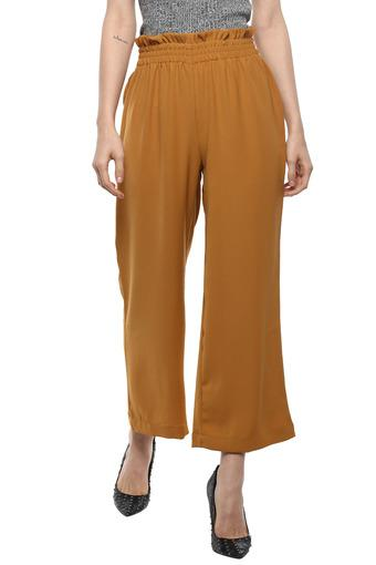 Womens Solid Paper Bag Waist Pants