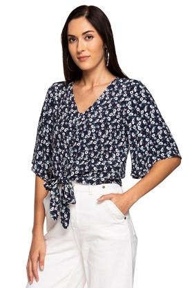 Womens V Neck Floral Printed Tie Up Top