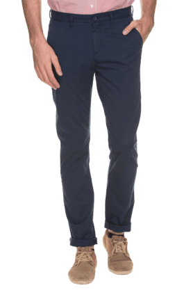 ALLEN SOLLY Mens Slim Fit Solid Chinos - 200594055