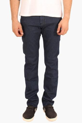 Mens Slim Fit Printed Jeans