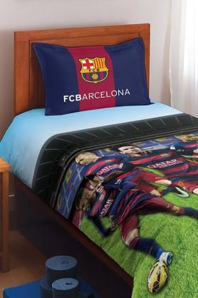 SPACES FCB Players Blue Cotton Single Bed Sheet With 1 Pillow Cover