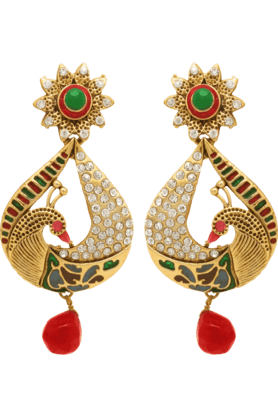 DONNA Traditional Ethnic Gold Plated Pear Peacock Dangler Earrings For Women By Donna ER30026G (Use Code FB15 To Get 15% Off On Purchase Of Rs.1200)