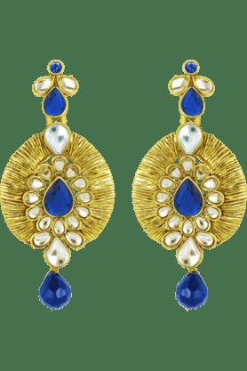 DONNATraditional Ethnic Blue Eye Dangler Earrings With Crystal For Women By Donna ER30003G