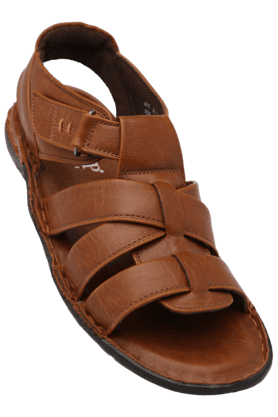 STOP Mens Leather Velcro Closure Sandal