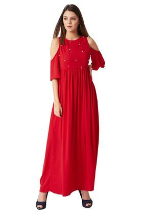 Womens Round Neck Solid Cut-Out Pearl Detailing Gathered Maxi Dress