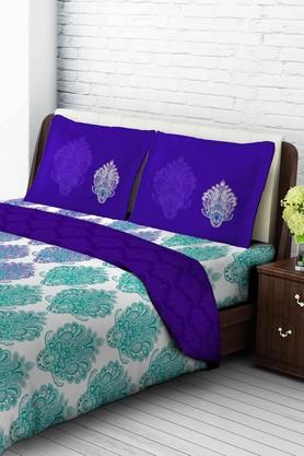 TANGERINE Cotton Printed Double Bedsheet And Pillow Set - 200456805