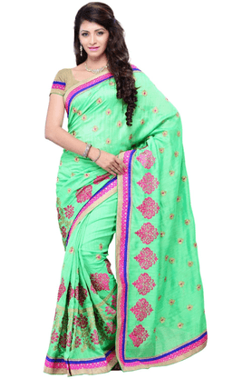 DEMARCA De Marca Green Art Silk Designer DF-411C Saree
