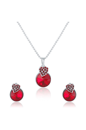 MAHI Mahi Rhodium Plated Red Swarovski Elements Pendant Set For Women NL1104089RBl