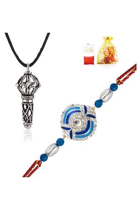 MAHICombo Of Azure Devotion Rakhi And Lord Hanuman Silver Rhodium Plated Pendant