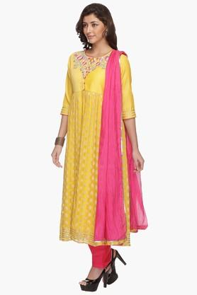 Womens Printed Embroidered Anarkali Pant Suit