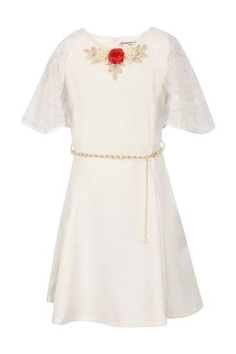 Girls Round Neck Applique A-Line Dress