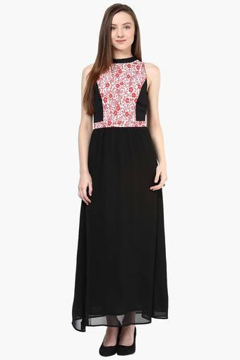 ef8722656 Buy THE VANCA Womens Band Collar Printed Maxi Dress   Shoppers Stop