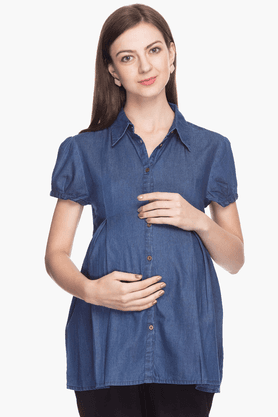 NINE MATERNITY Womens Regular Fit Slub Shirt