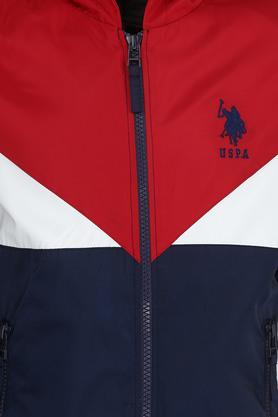 Boys Hooded Neck Colour Block Jacket