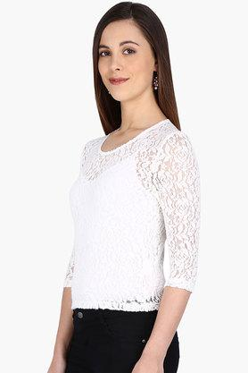 Kraus Womens Round Neck Lace-embellished Top