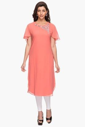 KASHISH Womens Round Neck Solid Embellished Cape Kurta