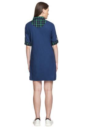 Womens V Neck Solid Short Dress