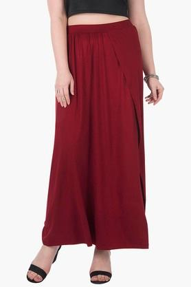 Womens Solid Wrap Style Slitted Long Skirt