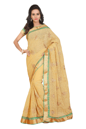 DEMARCA Women Georgette Saree (Buy Any Demarca Product & Get A Pair Of Matching Earrings Free) - 200875617