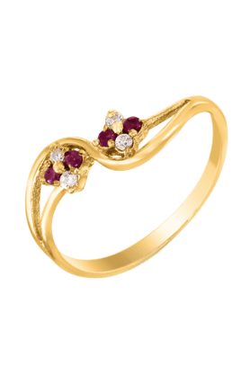 MAHIMahi Gold Plated Beauty Cluster Ring With Ruby And CZ Stones For Women FR1100301G