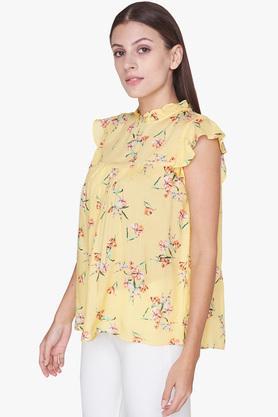 Womens Ruffled Collar Floral Print Top