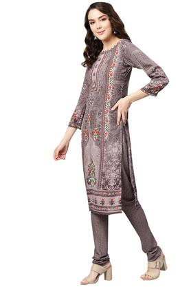 Womens Unstitched Round Neck Floral Printed Churidar Suit