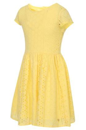 Girls Round Neck Solid Eyelet Pleated Dress