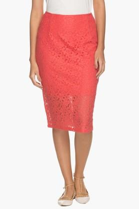 FEMINA FLAUNT Womens Lace Pencil Skirt