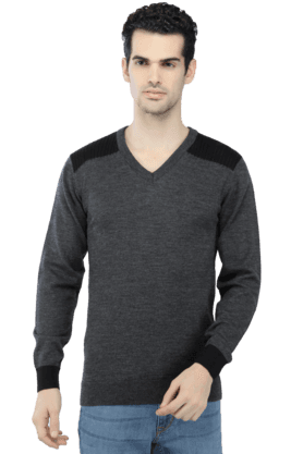 VAN HEUSEN Mens Full Sleeves V Neck Slim Fit Solid Sweatshirts