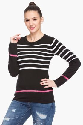 FEMINA FLAUNT Womens Round Neck Stripe Top