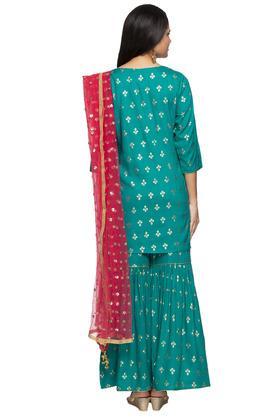 Womens Round Neck Printed Sharara Suit