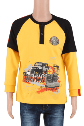 Boys Cotton Round Neck Long Sleeves Printed T-Shirt