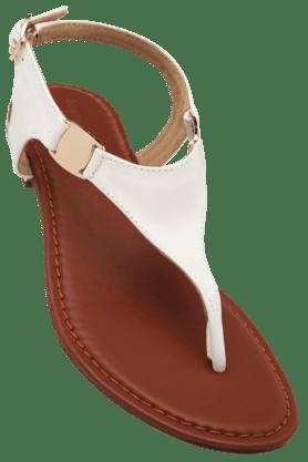 HAUTE CURRYWomens Daily Wear Ankle Buckle Closure Flat Sandal