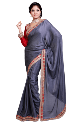 DEMARCA Women Satin And Jacquard Saree