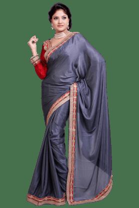DEMARCAWomen Satin And Jacquard Saree