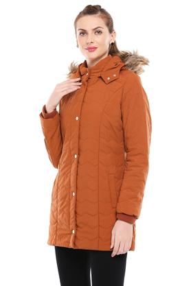 Womens Hooded Solid Quilted Jacket