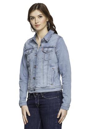 Womens Collared Rinse Wash Jacket