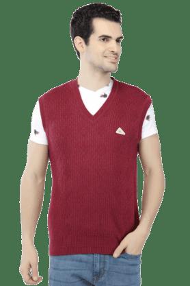 MONTE CARLOMens Sleeveless V Neck Slim Fit Stripe Sweater - 9846917