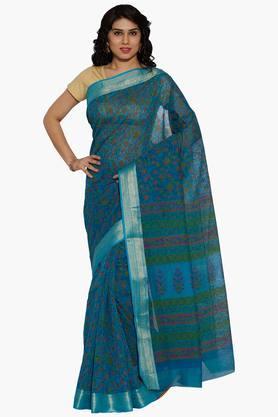 JASHNWomen Floral Print Cotton Saree - 202444551
