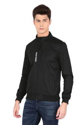 Mens Zip Through Neck Solid Biker Jacket