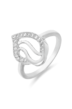 MAHI Mahi Rhodium Plated Curvy Drop Fingering With CZ For Women FR1100102R