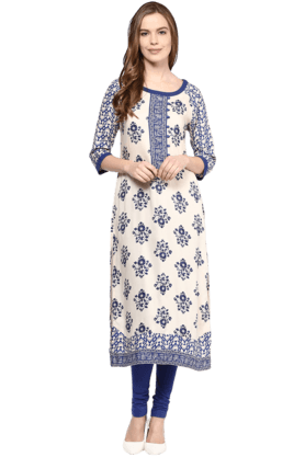 FUSION BEATS Womens Printed Kurta - 200991433
